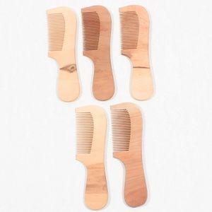 Peach Wood Hair Beard Anti-Static Comb 5 Combs NEW